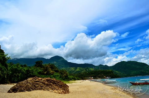 Stretch of scenic coast line of the famous White Beach in Puerto Galera