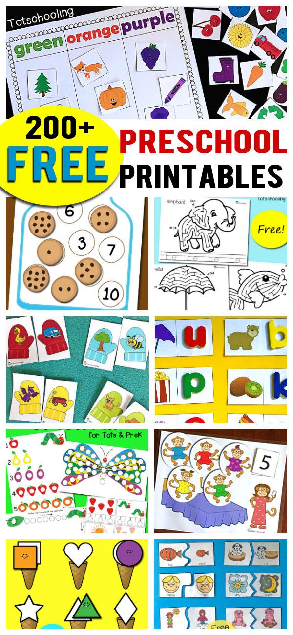 200+ Free Preschool Printables  Worksheets