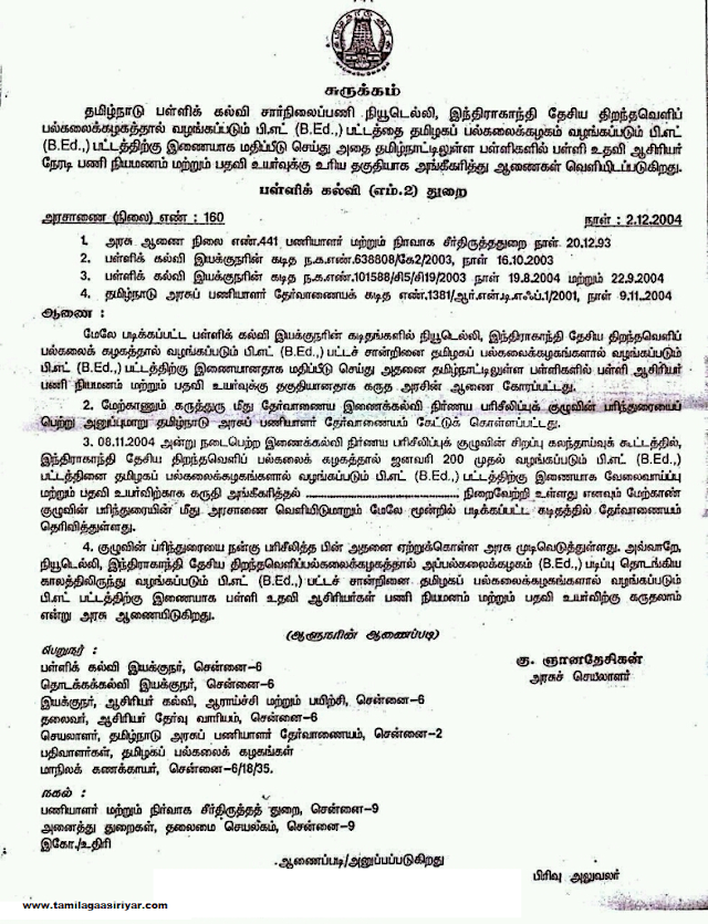 G.O 160 DSE Dept Date:2/12/2004-IGNOU BEd is Eligible for Direct Appointment and Promotion