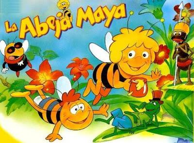 Dibujo de la La Abeja Maya volando por el parque