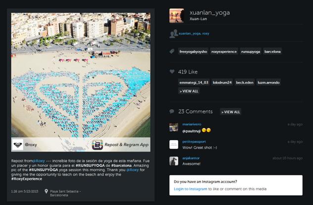 PR Quiksilver Inc : Xuan Lan posted ROXY #runsupyoga's