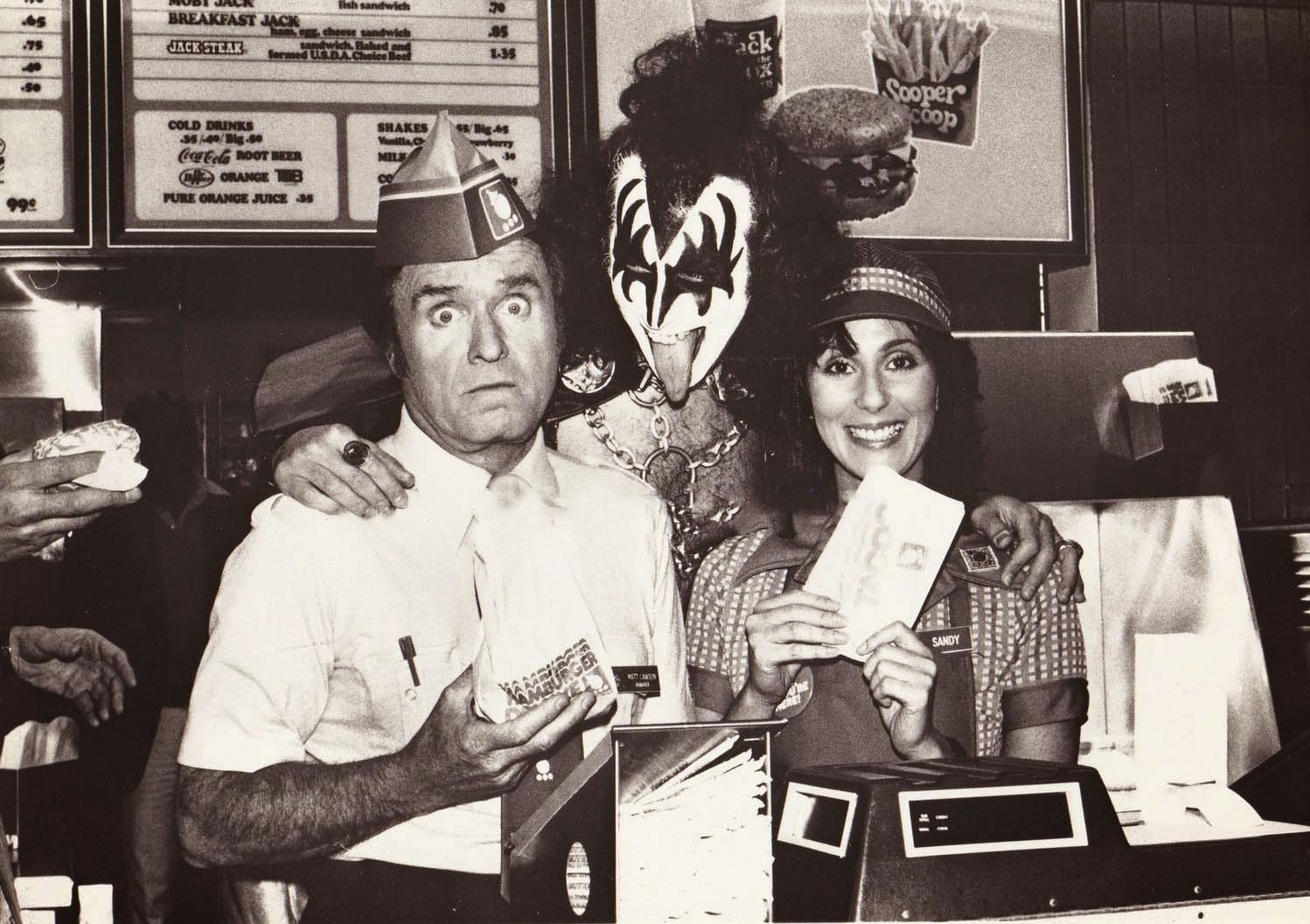 Mike Douglas, Gene Simmons, and Cher in 1979 ~ vintage ...