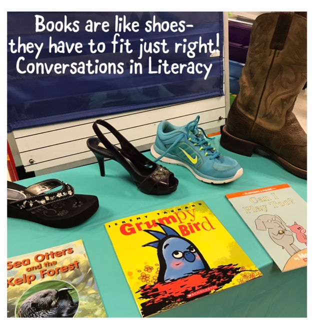 Just right books activity comparing to shoes also reading anchor charts and conversations in rh conversationsinliteracy