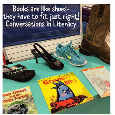 Just Right Books Activity comparing books to shoes