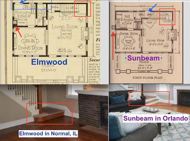 Comparison of entry treads on Sears Elmwood vs Sears Sunbeam