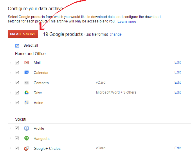 Download Google Data-Configure Data Archive