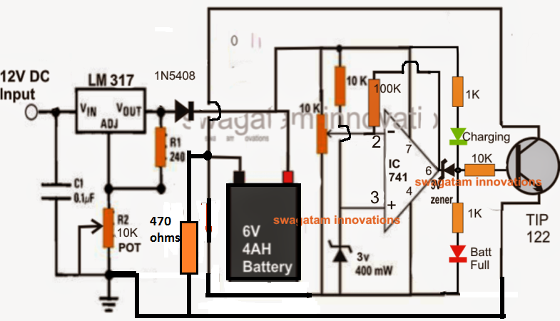 6v relay diagram make a 6v 4ah automatic battery charger circuit without