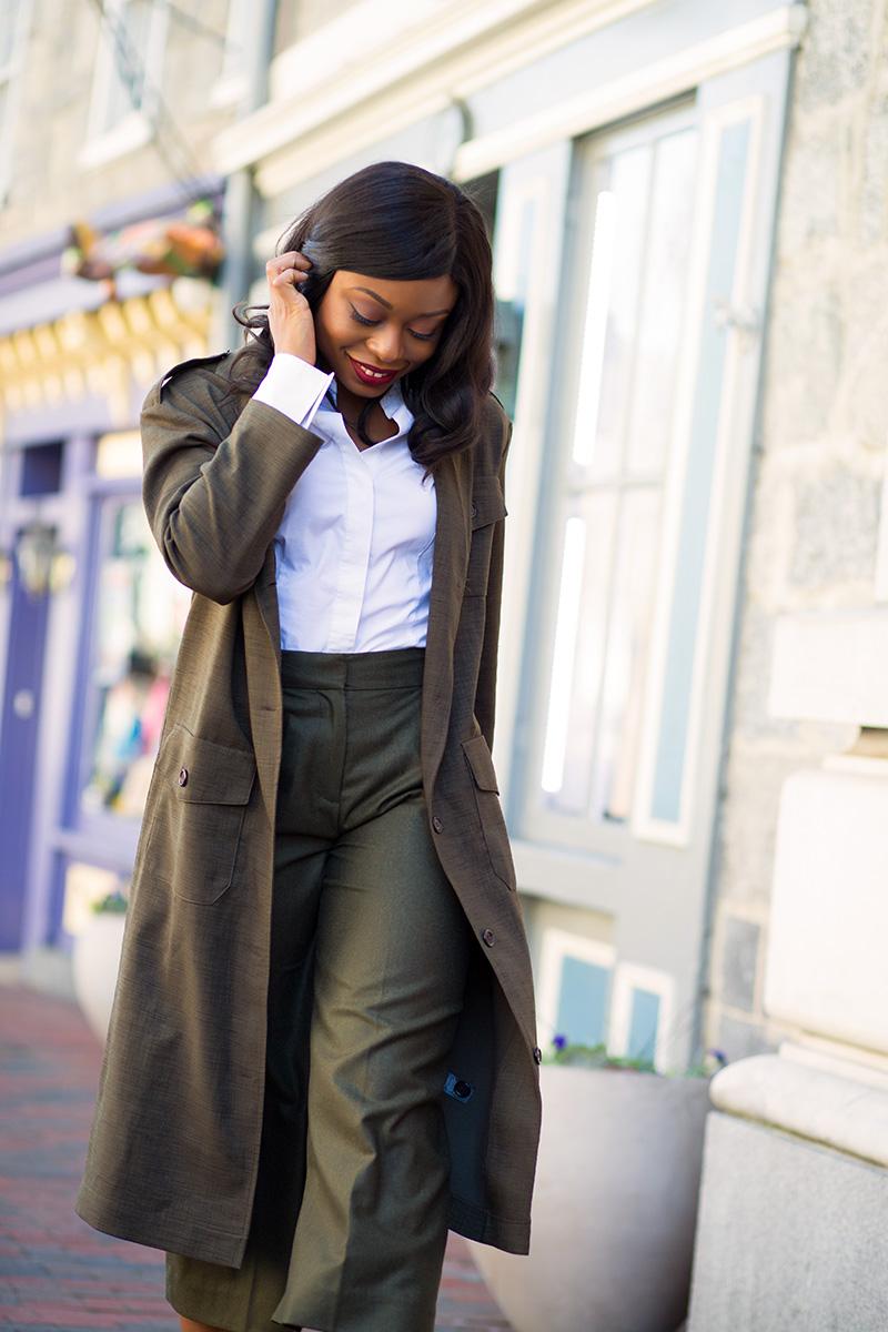 Jcrew culottes, asos military maxi blazer,  www.jadore-fashion.com