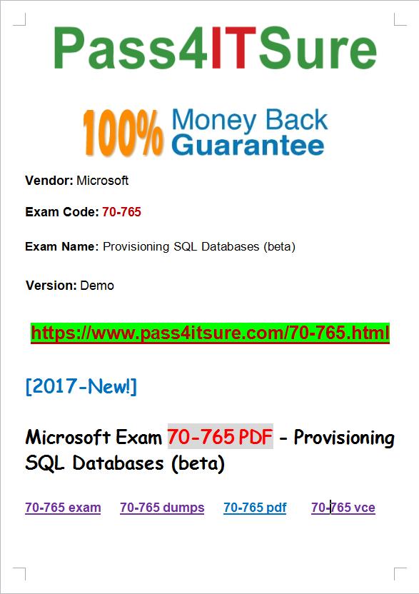 Latest Microsoft Exam Guides 2017 Hot 100 Pass Microsoft 70 765