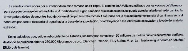 Panel informativo Mina Romana de El Trigal - Senda del Oro