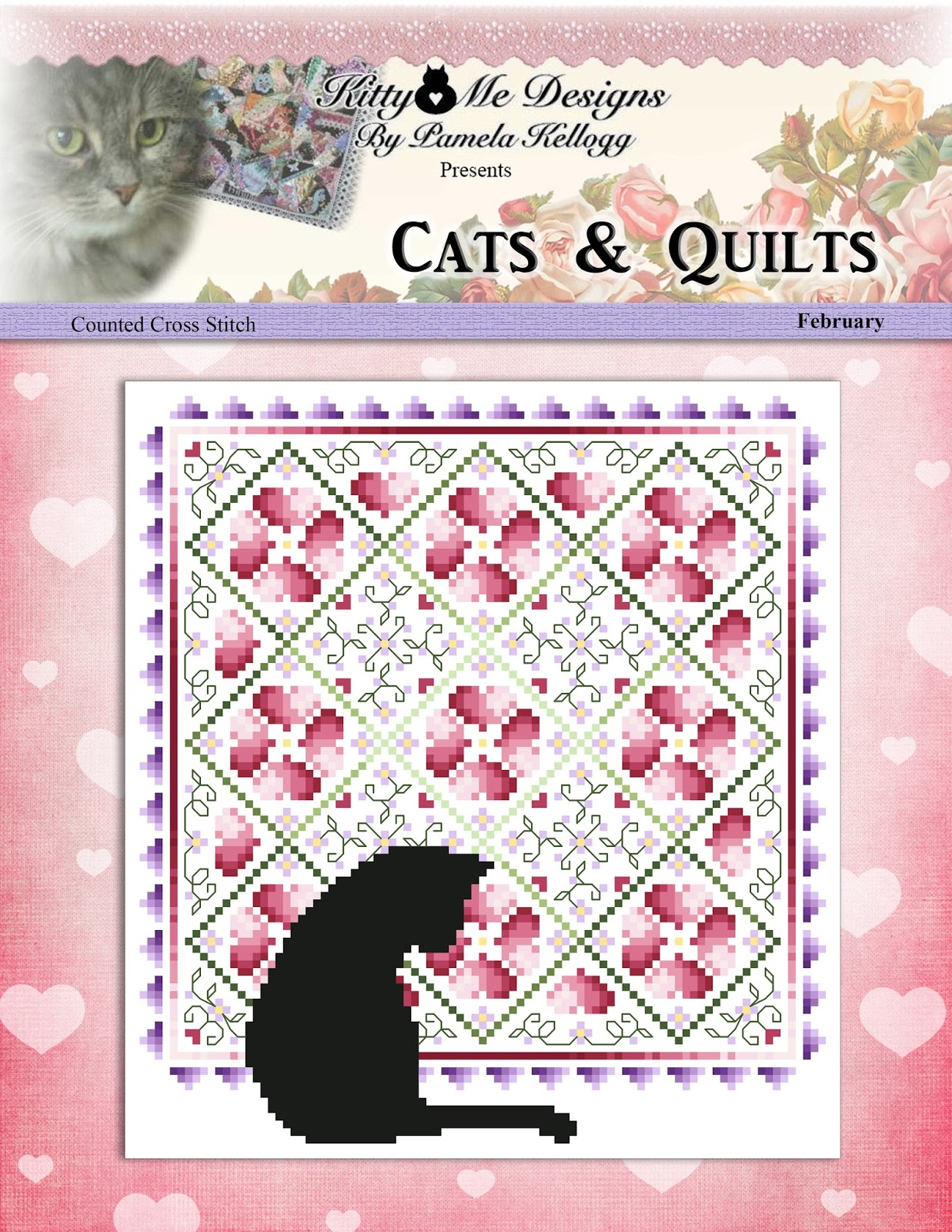 Kitty And Me Designs: Cats And Quilts Counted Cross Stitch Pattern February