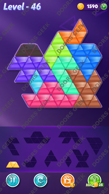 Block! Triangle Puzzle 9 Mania Level 46 Solution, Cheats, Walkthrough for Android, iPhone, iPad and iPod