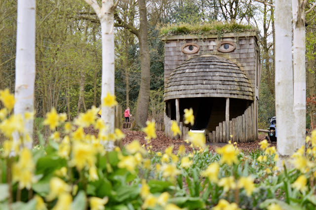 large wooden play area in the shape of a face and lots of daffodils at RHS.