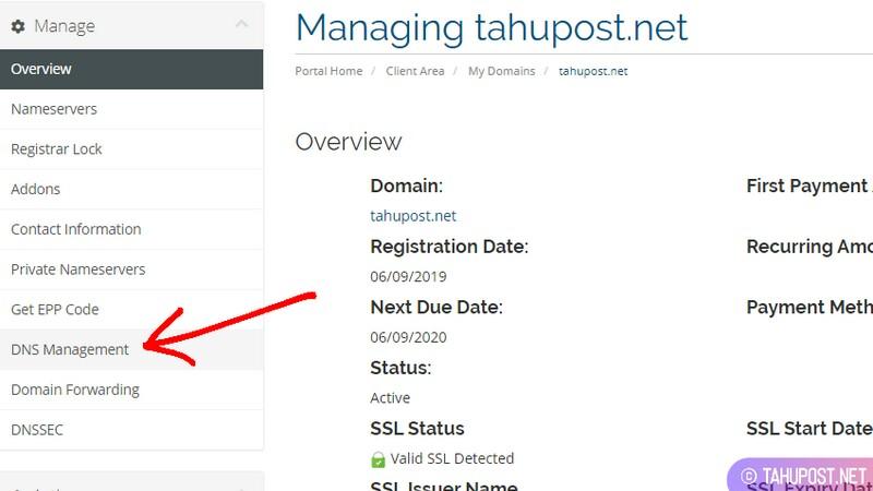 Cari Menu DNS Management