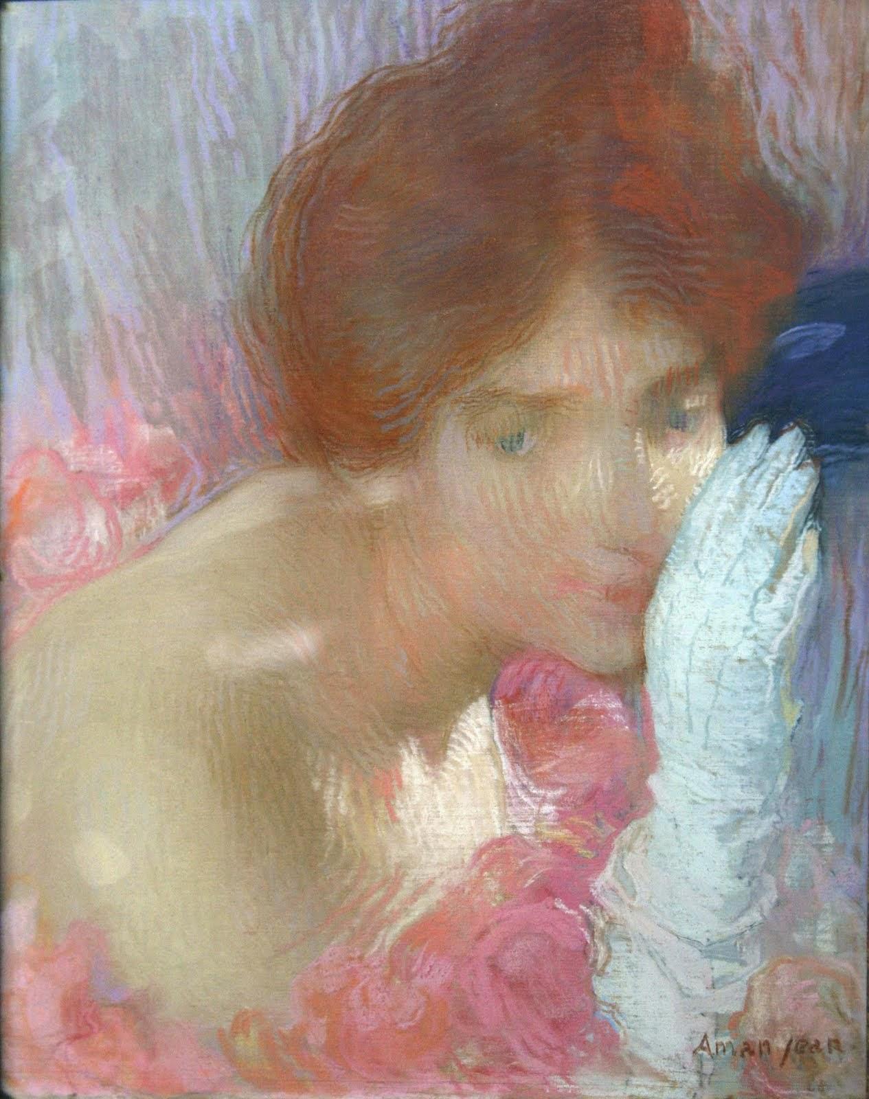 Mulher com uma Luva - Edmond Aman-Jean e suas principais pinturas  ~ Art Nouveau