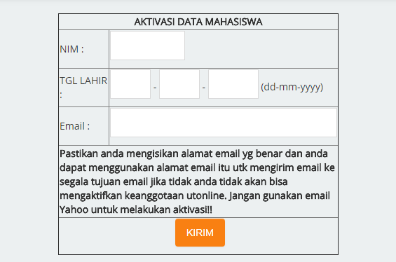 Form Aktivasi Tutorial UT