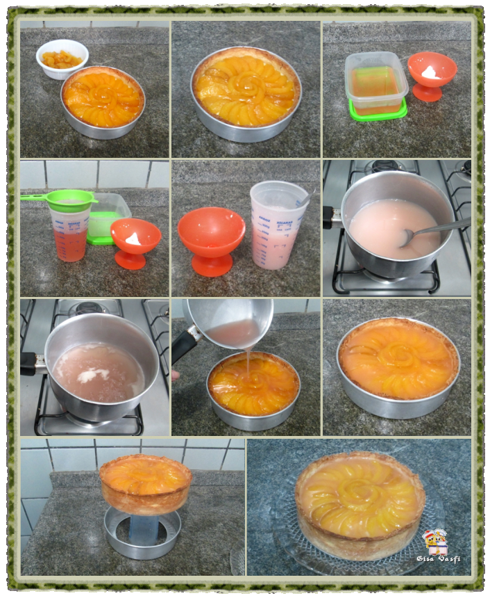 Torta de pêssegos com creme 5