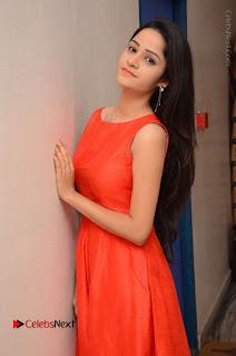 Telugu Actress Divya Nandini Stills in Orange Sleeveless Gown at Chennai Chaitrama Movie le Launch Event  0045.JPG