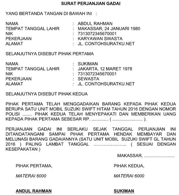 Surat Perjanjian Gadai Mobil Pdf
