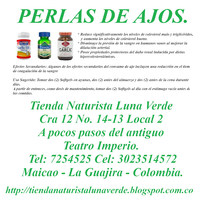 Tienda Naturista Luna Verde  Cra 12 No. 14-13 Local 2  A pocos pasos del antiguo Teatro Imperio.  Tel: 7254525 Cel: 3023514572 Maicao - La Guajira - Colombia. http://tiendanaturistalunaverdemaicao.negocio.site/ http://tiendanaturistalunaverde.blogspot.com.co