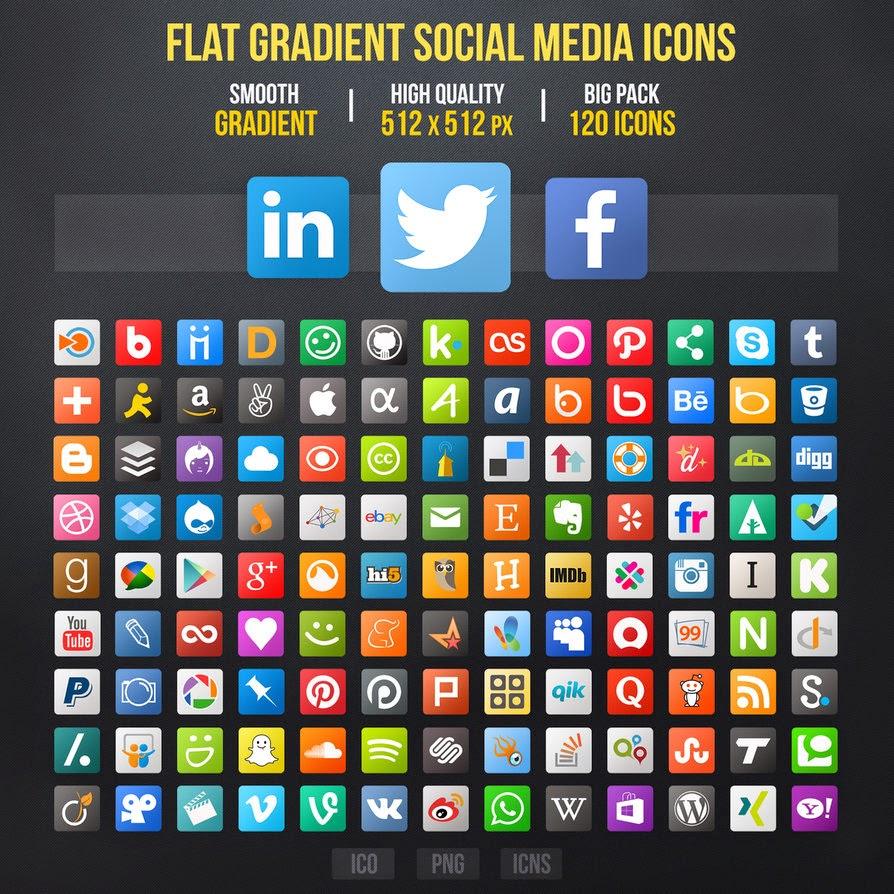50 best free flat social media icon sets tinydesignr