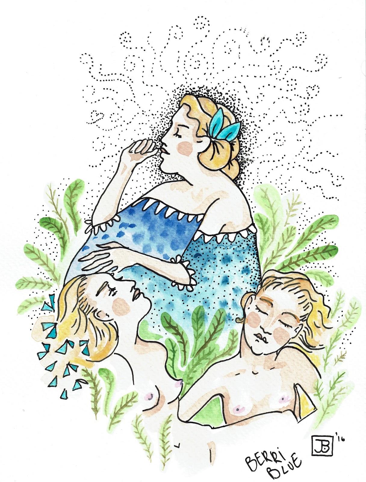 Watercolour Nude Women Blue Dress Leaves Illustration