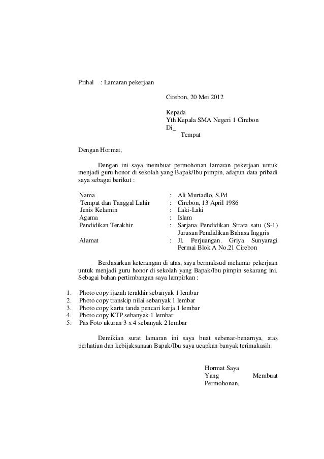 Ben Jobs Contoh Surat Lamaran Kerja Honorer Instansi Pemerintah