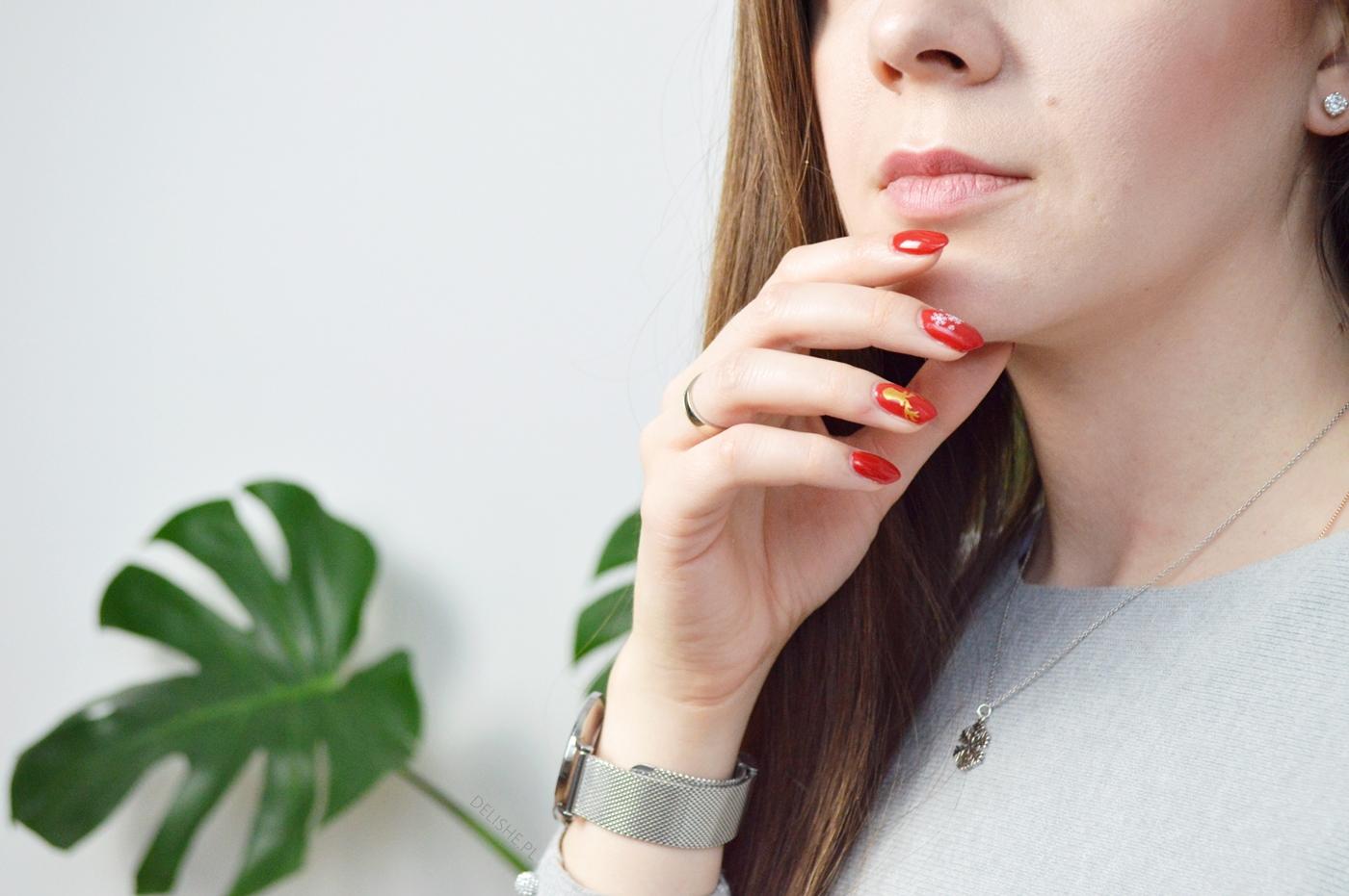 świąteczny manicure czerwień intense red semilac