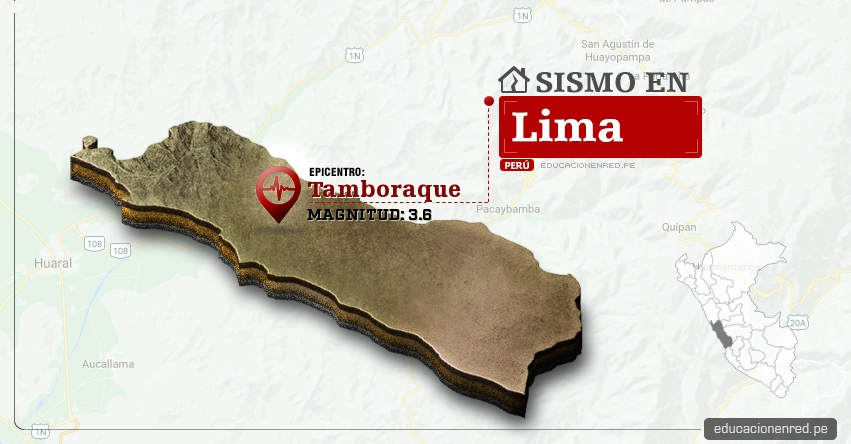 Temblor en Lima de 3.6 Grados (Hoy Sábado 11 Febrero 2017) Sismo EPICENTRO Tamboraque - Huarochiri - IGP - www.igp.gob.pe