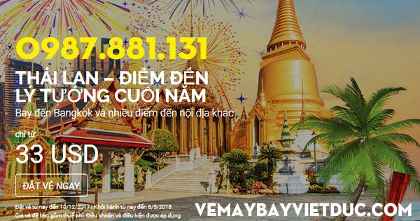 Air Asia khuyến mãi vé 33 usd cuối năm đi Thái Lan