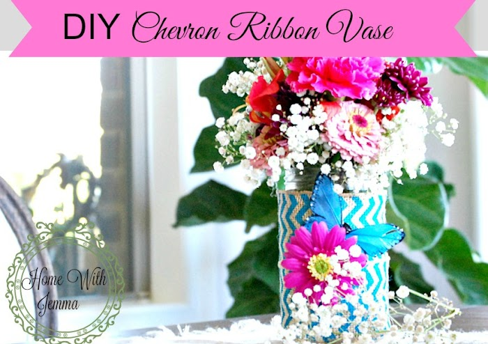 Making Do ~ DIY Chevron Ribbon Vase