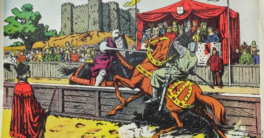 """Connu Manuels anciens: Affiche histoire n°8 """"Un tournoi au Moyen-Âge"""" SO77"""