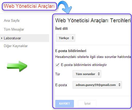 Web yönetici araçları ayarlar sekmesi