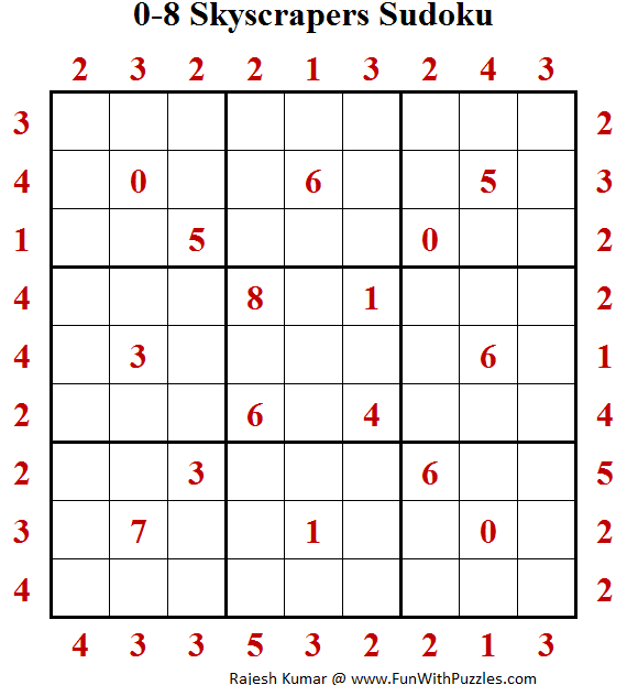 0-8 Skyscrapers Sudoku (Puzzle For Adults)