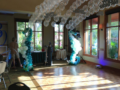 Seahorse balloon sculpture with helium balloons for dance floor