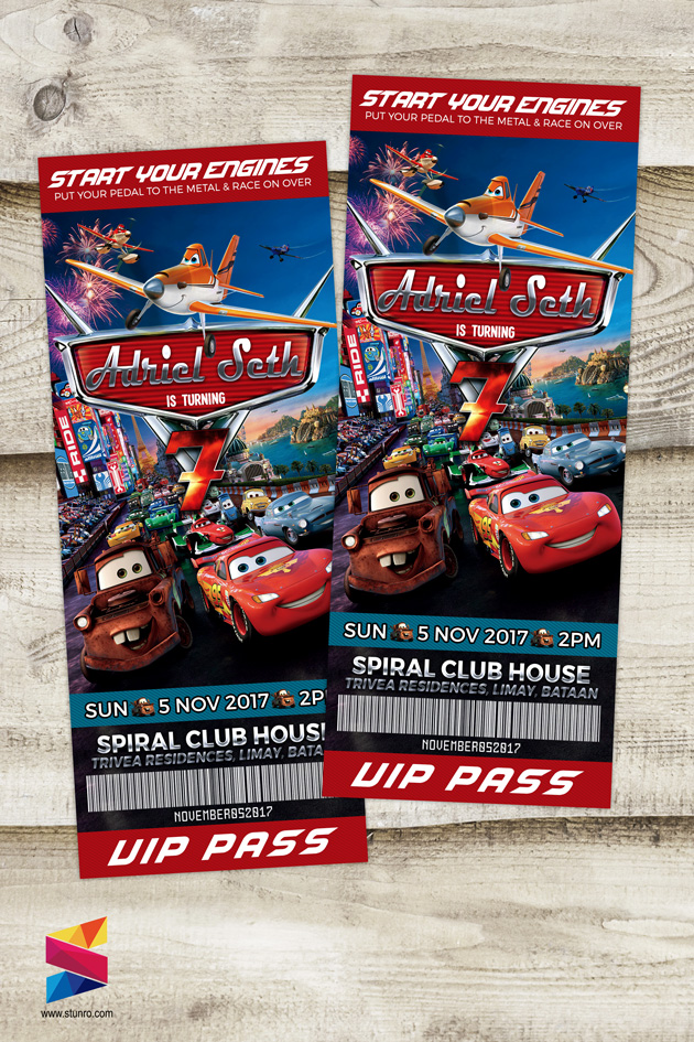 Cars Planes Themed Ticket Style Birthday Invitation Stunro – Ticket Style Birthday Invitations