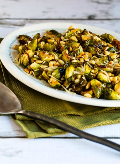 Roasted Brussels Sprouts with Balsamic, Parmesan, and Pine Nuts from Kalyn's Kitchen featured in The BEST Low-Carb and Gluten-Free Thanksgiving Side Dishes on KalynsKitchen.com