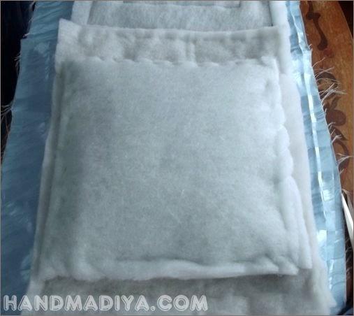 Стеганая подушка - думка.  Quilted satin pillow