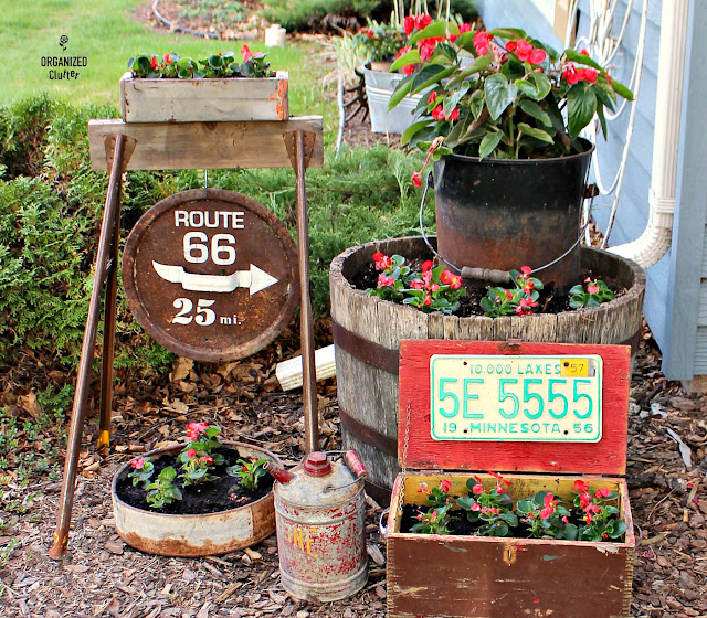 Junk Garden Vignette with Wax and Dragon Wing Begonias