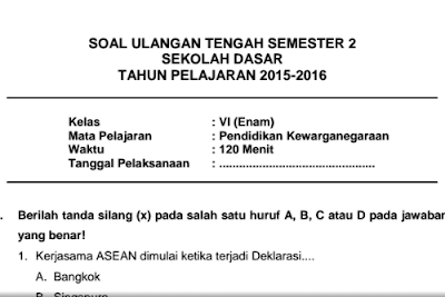 akan dilaksanakan Ulangan Tengah Semester  Soal UTS Mapel PKn Semester 2 Kelas 6 SD/MI