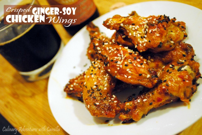 Crisped Ginger-Soy Chicken Wings + Beer Pairing, a #wingweek guest post from Culinary Adventures with Camilla at allroadsleadtothe.kitchen