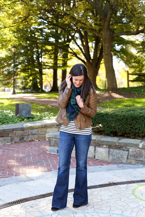 the perfect fall outfit idea, flare denim, Gap jeans, leather jacket