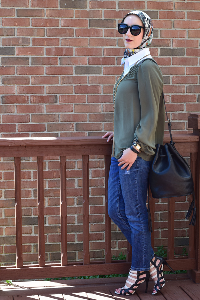 A Day In The Lalz; Olive x Black; Bucket Bag; Karen Walker Super Dupe; Jackson Pollock Scarf; Bauble Bar Iced Lariat Pendant; Fall Fashion; Style; Fashion Blog; Modest Style; Hijabi