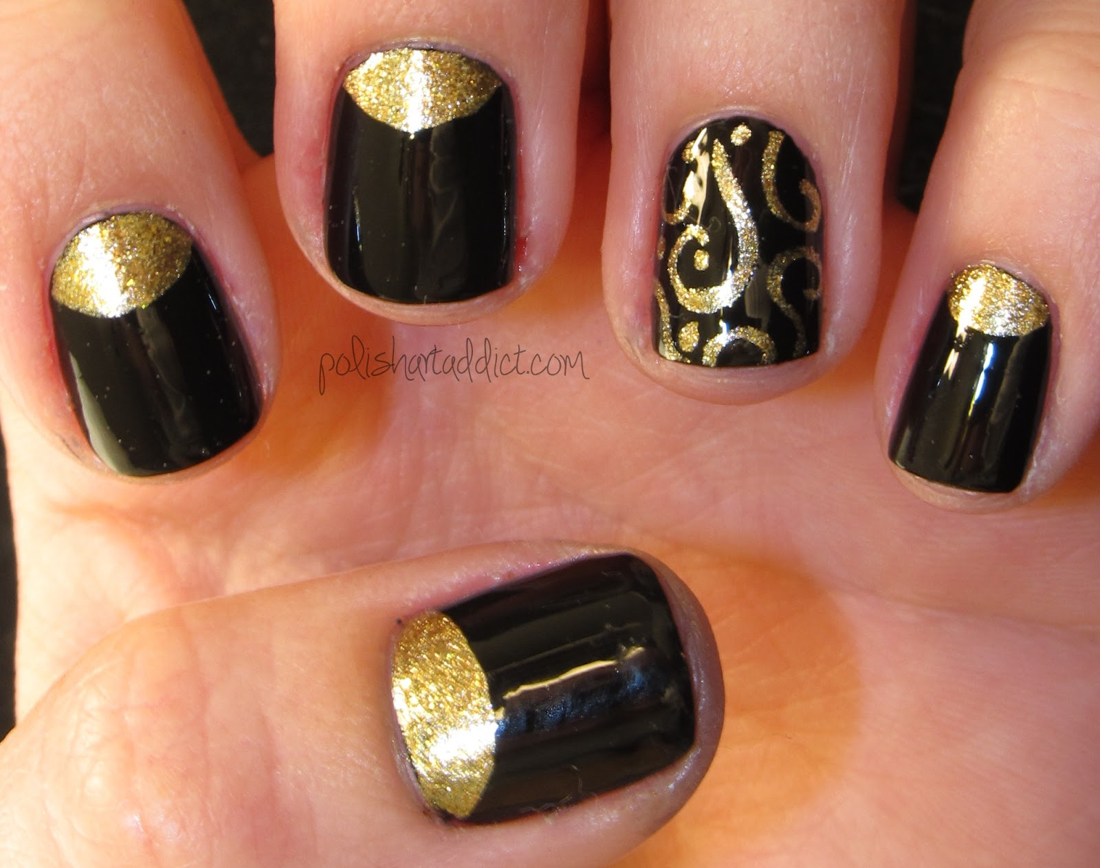 Black with gold half moons