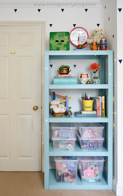 Mint Parsons Bookcase - Blue Red Mint Kids Room - Shared Kids Room Reveal - One Room Challenge