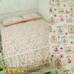 Sprei Custom Katun Lokal Anak Pettie Seri Krem Vintage Pattern Krem