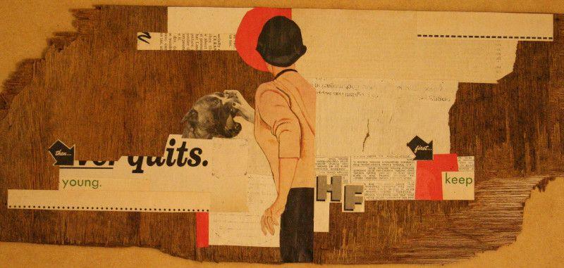 Collage de recortes sobre trozo de madera