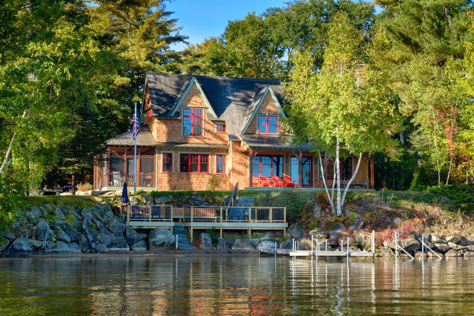 Post and beam timber frame blog lake winnisquam timber for Vacation cottage