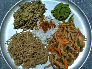 Homemade whole wheat veg noodles, Stringhopper, Banana flower poriyal, Mint chutney