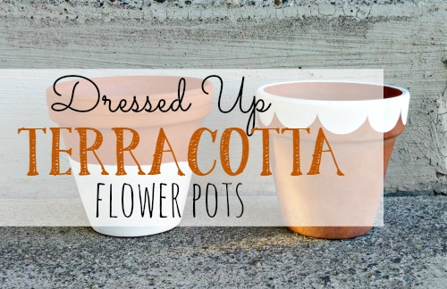 Painted terracotta flower pots